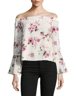 Chiffon Cold Shoulder Floral Top