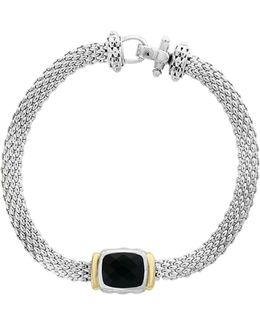 Onyx, 18k Yellow Gold And Sterling Silver Tennis Bracelet