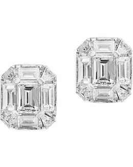 14k White Gold Octagon Stud Earrings With 0.57 Tcw Diamonds
