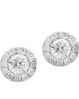 14k White Gold Round Stud Earrings With 0.49 Tcw Diamonds