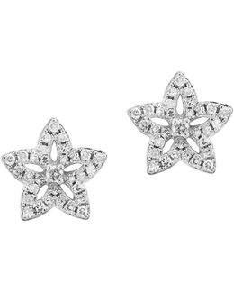 14k White Gold Floral Stud Earrings With 0.22 Tcw Diamond