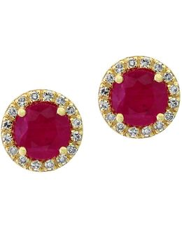 0.13tcw Diamonds, Natural Ruby And 14k Yellow Gold Stud Earrings