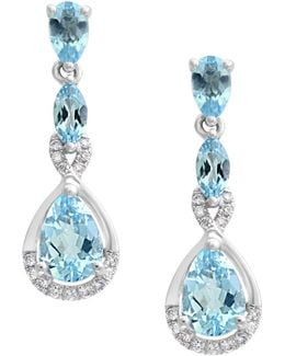 0.11 Tcw Diamond, Aquamarine And 14k White Gold Drop Earrings
