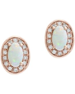 0.1 Tcw Diamond, Opal And 14k Rose Gold Oval Stud Earrings