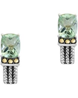 Green Amethyst, 18k Yellow Gold And Sterling Silver Earrings