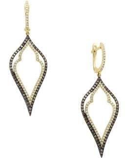 14k Yellow Gold Earrings With 0.83tcw Diamond, Black Diamond, Espresso Diamond