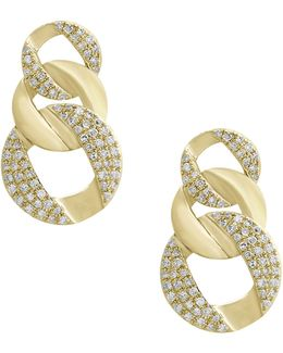 14k Yellow Gold Circular Drop Earrings With 0.34tcw Diamonds