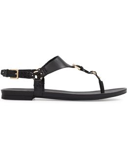Joni T-strap Leather Flat Sandals