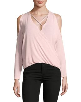 Surplice Cold-shoulder Top