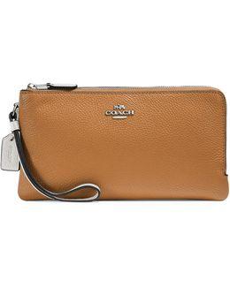 Double Zip Pebbled Leather Wallet