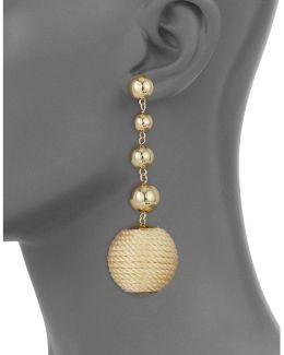 Linear Ball Wrap Bead Drop Earrings