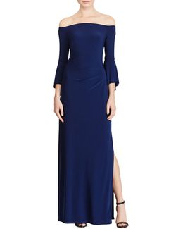 Slim-fit Off-the-shoulder Jersey Gown