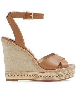 Leather And Rope Wedge Sandals