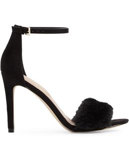Faux-fur High Heel Sandals