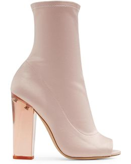 Mid-calf Peep-toe Booties