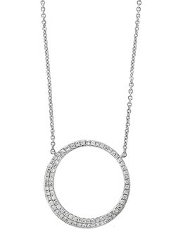 14k White Loop Pendant Necklace With 0.29 Tcw Diamond