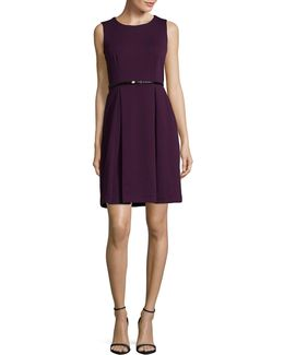 Sleeveless Belted Fit-and-flare Dress