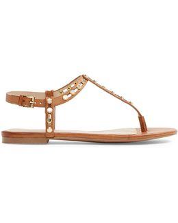 Starda Embellished T-strap Flat Sandals