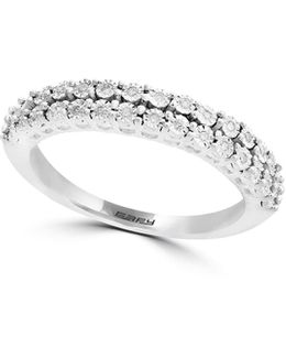 14k White Gold Two-row Ring With 0.1 Tcw Diamond