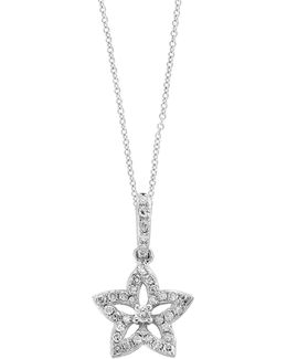 14k White Gold Floral Pendant Necklace With 0.14 Tcw Diamond