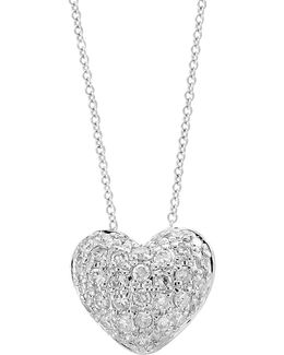 14k White Gold Heart Pendant Necklace With 0.14 Tcw Diamond