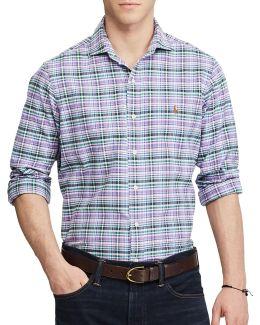 Standard Fit Spread Collar Plaid Oxford Shirt
