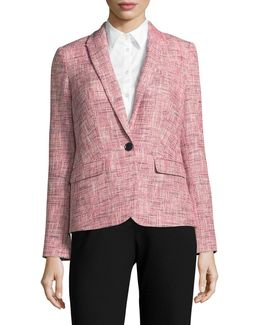 Tweed Single-button Blazer