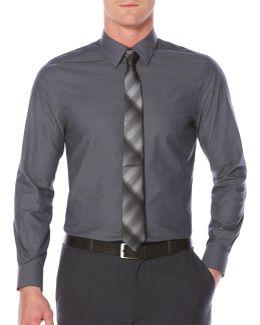 Big & Tall Zig Zag Textured Sport Shirt