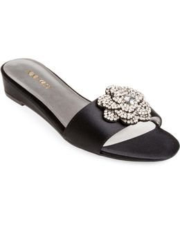 Thisbe Embellished Flower Slide Sandals