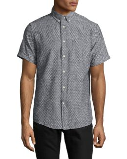 Ditsy Floral Linen-cotton Short Sleeve Shirt