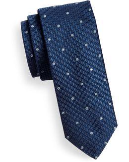 Layered Dot Slim Silk Tie