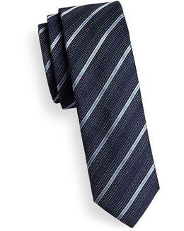 Mixed-stripe Skinny Silk Tie