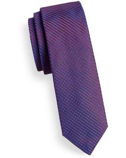 Fine-stripe Skinny Silk Tie