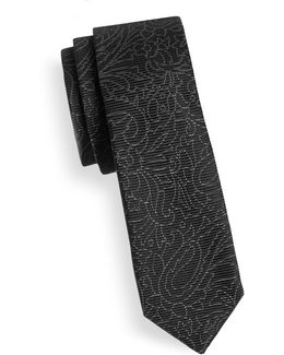 Floral-line Skinny Silk Tie