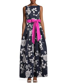 Contrast Sash Floral Ball Gown