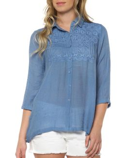 Embroidered Button-front Blouse