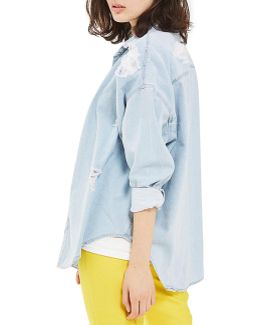Moto Ripped Denim Shirt