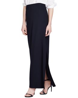 Stretch Interlock Straight Maxi Skirt