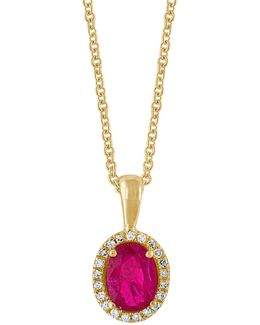 0.08tcw Diamonds, Natural Ruby And 14k Yellow Gold Pendant Necklace
