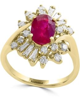 0.61tcw Diamonds, Natural Ruby And 14k Yellow Gold Ring