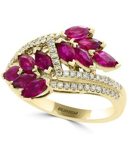 0.46tcw Diamonds, Ruby And 14k Yellow Gold Crossover Shank Ring