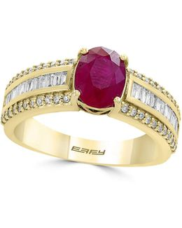 0.43 Tcw Diamond, Ruby And 14k Yellow Gold Three-row Ring