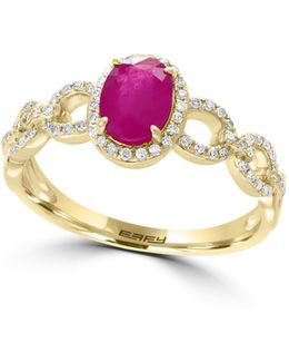 0.21 Tcw Diamond, Ruby And 14k Yellow Gold Twisted Shank Ring