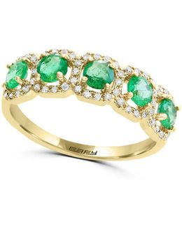 0.20 Tcw Diamond, Emerald And 14k Yellow Gold Halo Ring