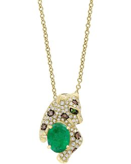 0.37 Tcw Diamond, Espresso Diamond, Emerald And 14k Yellow Gold Panther Pendant Necklace