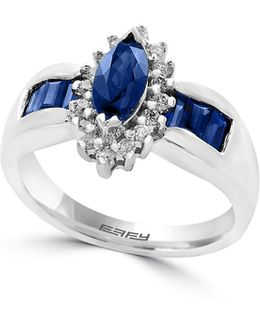 0.20 Tcw Diamond, Sapphire And 14k White Gold Ring