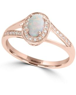 0.12 Tcw Diamond, Opal And 14k Rose Gold Ring