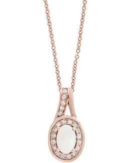0.09 Tcw Diamond, Opal And 14k Rose Gold Oval Halo Pendant Necklace