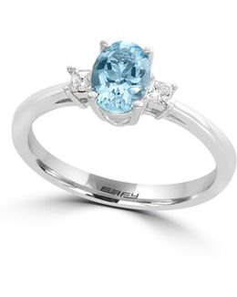 0.09 Tcw Diamond, Aquamarine And 14k White Gold Ring