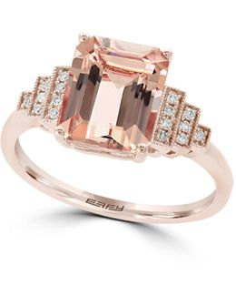 14k Rose Gold And Morganite Ring With 0.07 Tcw Diamond